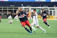 FOXOBOROUGH, MA - AUGUST 21: Andrew Farrell #2 of New England Revolution battles for the ball with Ben Mines #17 of FC Cincinnati during a game between FC Cincinnati and New England Revolution at Gillette Stadium on August 21, 2021 in Foxoborough, Massachusetts.