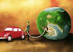 Illustrative image of man refueling car representing earth depression