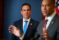 Democratic Caucus Vice-Chair United States Representative Pete Aguilar (Democrat of California), left, listens while Democratic Caucus Chairman United States Representative Hakeem Jeffries (Democrat of New York) offers remarks during a press conference at the US Capitol in Washington, DC, Tuesday, July 20, 2021. Credit: Rod Lamkey / CNP /MediaPunch