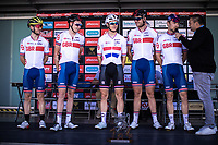 Team Great Britain pre race team presentation. <br /> <br /> <br /> 104th Kampioenschap van Vlaanderen 2019<br /> One Day Race: Koolskamp > Koolskamp 186km (UCI 1.1)<br /> ©kramon