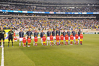 The men's national team of Brazil (BRA) defeated the United States (USA) 2-0 during an international friendly at the New Meadowlands Stadium in East Rutherford, NJ, on August 10, 2010.