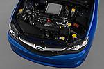 High angle engine detail of a  2009 Subaru Impreza Wagon WRX.