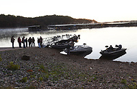 GATHERING OF ANGLERS<br />Members of the Dirty 20 fishing club, get set to hit the water at dawn on Tuesday Oct. 13 2020 at Prairie Creek park. The club fishes for black bass most Tuesday mornings at Beaver Lake. Members pony up a few dollars each week to fund a modest prize for the largest black bass and the heaviest stringer. The club is one of the longest running fishing groups at Beaver. Go to nwaonline.com/201014Daily/ to see more photos.<br />(NWA Democrat-Gazette/Flip Putthoff)