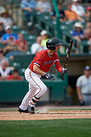 Rochester Red Wings center fielder Zack Granite (2) bats during a game against the Columbus Clippers on August 9, 2017 at Frontier Field in Rochester, New York.  Rochester defeated Columbus 12-3.  (Mike Janes/Four Seam Images)