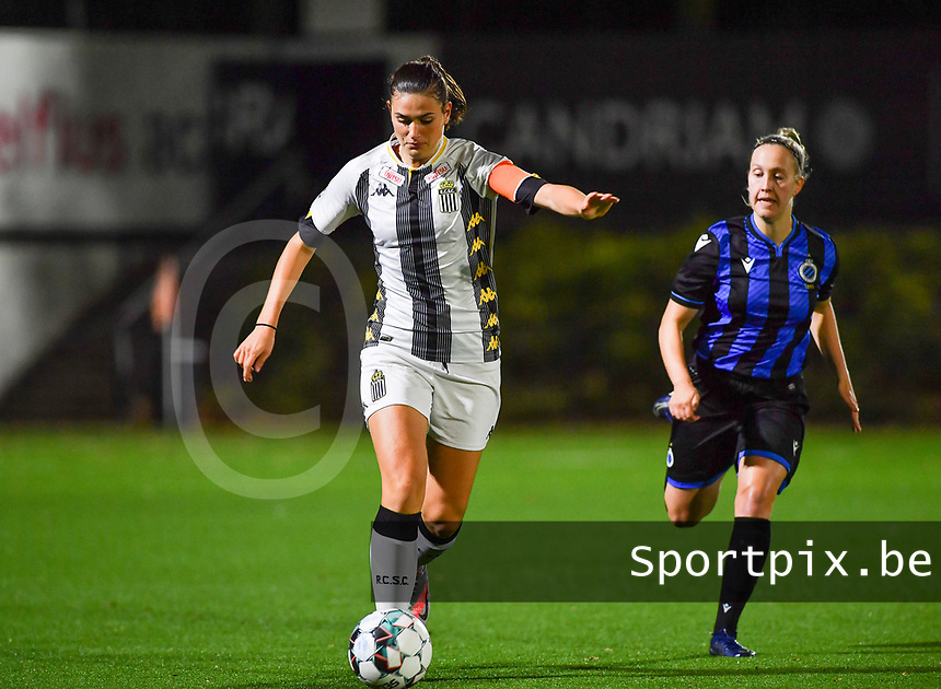 defender Noemie Fourdin of Sporting Charleroi pictured with Brugge's Celien Guns during a female soccer game between Sporting Charleroi and Club Brugge YLA on the fourth matchday of the 2020 - 2021 season of Belgian Scooore Womens Super League , friday 9 nd of October 2020  in Marcinelle , Belgium . PHOTO SPORTPIX.BE | SPP | DAVID CATRY