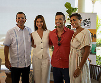RIO GRANDE, PUERTO RICO: L-R: Governor of Puerto Rico, Mr. Pedro Pierluisi with stars of the new FOX drama FANTASY ISLAND, Roselyn Sanchez, John G. Rodriguez and Kiara Barnes on set at a press conference highlighting local Puerto Rico production. (Photo by Laura Magruder/FOX/PictureGroup).  © 2021 FOX MEDIA LLC.