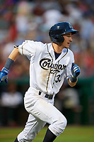 Kane County Cougars left fielder Ryan Grotjohn (33) runs to first base during a game against the West Michigan Whitecaps on July 19, 2018 at Northwestern Medicine Field in Geneva, Illinois.  Kane County defeated West Michigan 8-5.  (Mike Janes/Four Seam Images)