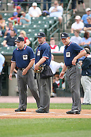 May 26th, 2008:  Umpires Pete Pedersen, David Rackley, David Uyl before a game at Frontier Field in Rochester, NY.  Photo by:  Mike Janes/Four Seam Images