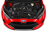 Car Stock 2020 Toyota Yaris Premier 5 Door Hatchback Engine  high angle detail view