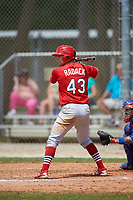 St. Louis Cardinals Collin Radack (43) bats during a Minor League Spring Training game against the New York Mets on March 31, 2016 at Roger Dean Sports Complex in Jupiter, Florida.  (Mike Janes/Four Seam Images)