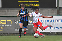 Esther Buabadi (24) of Zulte-Waregem and Isabelle Iliano (18) of Club Brugge  pictured during a female soccer game between SV Zulte - Waregem and Club Brugge YLA on the 13 th matchday of the 2020 - 2021 season of Belgian Scooore Womens Super League , saturday 6 th of February 2021  in Zulte , Belgium . PHOTO SPORTPIX.BE   SPP   DIRK VUYLSTEKE