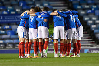Portsmouth players in a huddle prior to kick off during Portsmouth vs Oxford United, Sky Bet EFL League 1 Football at Fratton Park on 24th November 2020
