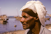 Kuwait November 1966.  A Kuwaiti of African Origin, Sief Waterfront.
