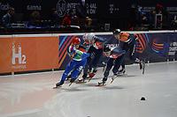 SPEEDSKATING: DORDRECHT: 05-03-2021, ISU World Short Track Speedskating Championships, QF 1500m Men, Yuri Confortola (ITA), Sebastien Lepape (FRA), Tristan Navarro (FRA), Dylan Hoogerwerf (NED), ©photo Martin de Jong