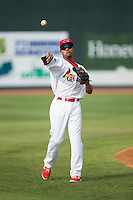 Edmundo Sosa (19) of the Johnson City Cardinals warms up in the outfield prior to the game against the Bristol Pirates at Howard Johnson Field at Cardinal Park on July 6, 2015 in Johnson City, Tennessee.  The Pirates defeated the Cardinals 2-0 in game one of a double-header. (Brian Westerholt/Four Seam Images)