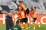 FC Shakhtar Donetsk's Tete, Manor Solomon, Marcos Antonio, Dodo, Dentinho and Maycon celebrate goal during UEFA Champions League match. October 20,2020.(ALTERPHOTOS/Acero)