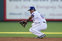 Round Rock Express shortstop Yeyson Yrizarri (60) fields a ground ball during the Pacific Coast League baseball game against the Oklahoma City Dodgers on June 9, 2015 at the Dell Diamond in Round Rock, Texas. The Dodgers defeated the Express 6-3. (Andrew Woolley/Four Seam Images)