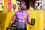 Juan Felipe Osorio Arboleda (COL) Burgos-BH most aggressive rider from yesterday's stage at sign on before the start of Stage 10 of the Vuelta Espana 2020 running 187.4km from Castro Urdiales to Suances, Spain. 30th October 2020.    <br /> Picture: Luis Angel Gomez/PhotoSportGomez | Cyclefile<br /> <br /> All photos usage must carry mandatory copyright credit (© Cyclefile | Luis Angel Gomez/PhotoSportGomez)