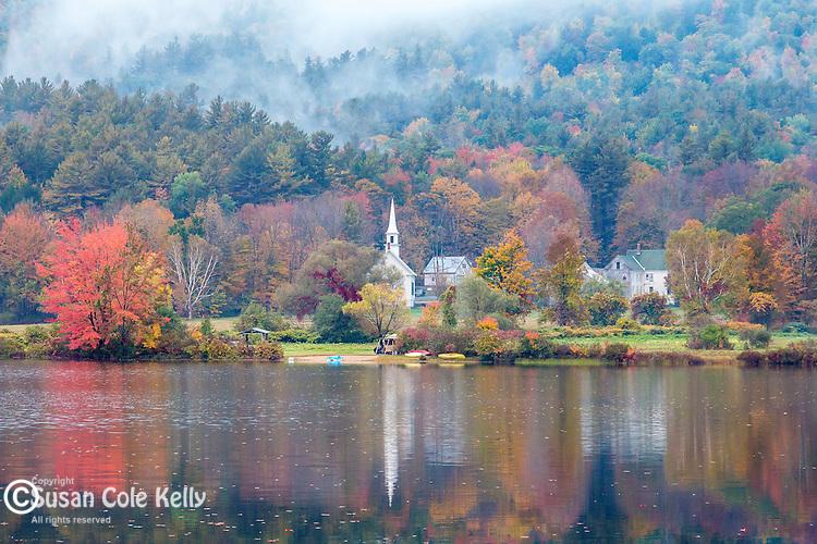 Fall foliage on Crystal Lake in Eaton, New Hampshire, USA