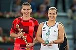 Romanian Simona Halep and Slovakian Dominika Cibulkova during Mutua Madrid Open Tennis 2016 in Madrid, May 07, 2016. (ALTERPHOTOS/BorjaB.Hojas)