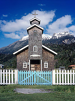 WOODEN CHURCH with BLUE GATE on the CAMINO AUSTRAL - PATAGONIA, CHILE