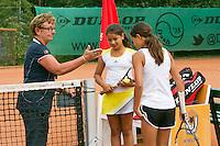 August 4, 2014, Netherlands, Dordrecht, TC Dash 35, Tennis, National Junior Championships, NJK,  Esmee Andresen/Lienka Ammar with umpire<br /> Photo: Tennisimages/Henk Koster