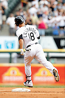 Chicago White Sox first baseman Brett Lillibridge #18 rounds the bases after hitting a home run in the first inning during a game against the Kansas City Royals at U.S. Cellular Field on August 14, 2011 in Chicago, Illinois.  Chicago defeated Kansas City 6-2.  (Mike Janes/Four Seam Images)