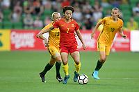 22 November 2017, Melbourne - WANG SHUANG (7) of China PR kicks the ball during an international friendly match between the Australian Matildas and China PR at AAMI Stadium in Melbourne, Australia.. Australia won 5-1. Photo Sydney Low