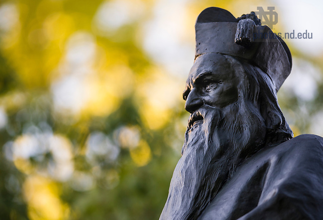 Oct. 9, 2013; Statue of Fr. Sorin on Main Quad. Photo by Barbara Johnston/University of Notre Dame