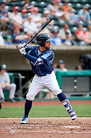 Columbus Clippers second baseman Jon Berti (7) at bat during a game against the Gwinnett Stripers on May 17, 2018 at Huntington Park in Columbus, Ohio.  Gwinnett defeated Columbus 6-0.  (Mike Janes/Four Seam Images)