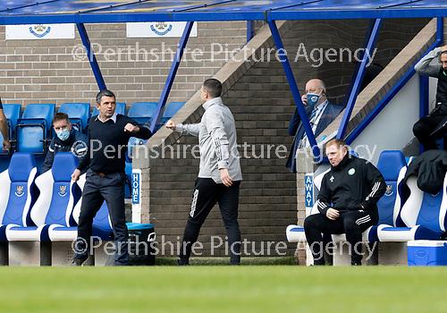 St Johnstone v Celtic…04.10.20   McDiarmid Park  SPFL<br />Saints manager Callum Davidson greets John Kennedy<br />Picture by Graeme Hart.<br />Copyright Perthshire Picture Agency<br />Tel: 01738 623350  Mobile: 07990 594431