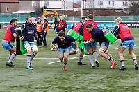 Billy Harding of London Scottish warms up during the Greene King IPA Championship match between Ealing Trailfinders and London Scottish Football Club at Castle Bar , West Ealing , England  on 19 January 2019. Photo by Carlton Myrie/PRiME Media Images
