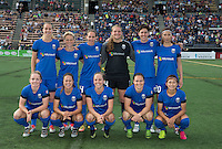 Seattle, WA - Saturday July 16, 2016: Seattle Reign FC Starting Eleven prior to a regular season National Women's Soccer League (NWSL) match between the Seattle Reign FC and the Western New York Flash at Memorial Stadium.
