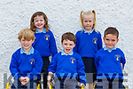 Raheen NS junior infants on their first day of school on Monday l-r: Jack Curran, Kate Mullally, Elliot Moroney, Emer Culloty and Daire McCarthy
