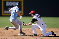 Dustin Ackley (13) of the North Carolina Tar Heels slides into second base ahead of the tag by Jeff Grantham (12) of the St. John's Red Storm at the 2008 Coca-Cola Classic at the Winthrop Ballpark in Rock Hill, SC, Sunday, March 2, 2008.