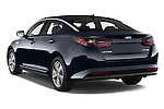Car pictures of rear three quarter view of a 2014 KIA Optima Hybrid EX 4 Door Sedan Angular Rear