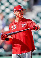 25 February 2019: Washington Nationals catcher Tres Barrera awaits his turn in the batting cage prior to a pre-season Spring Training game against the Atlanta Braves at Champion Stadium in the ESPN Wide World of Sports Complex in Kissimmee, Florida. The Braves defeated the Nationals 9-4 in Grapefruit League play in what will be the Braves' last season at the Disney / ESPN Wide World of Sports complex. Mandatory Credit: Ed Wolfstein Photo *** RAW (NEF) Image File Available ***