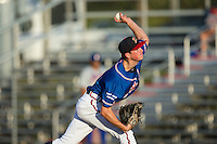 Danville Braves starting pitcher Jaret Hellinger (11) delivers a pitch to the plate against the Kingsport Mets at American Legion Post 325 Field on July 9, 2016 in Danville, Virginia.  The Mets defeated the Braves 10-8.  (Brian Westerholt/Four Seam Images)