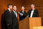 St Johnstone FC Scottish Cup Celebration Dinner at Perth Concert Hall...01.02.15<br /> Gordon Bannerman talks with Gary Miller, Lee Croft and Gary McDonald<br /> Picture by Graeme Hart.<br /> Copyright Perthshire Picture Agency<br /> Tel: 01738 623350  Mobile: 07990 594431