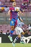 FC Barcelona's Martin Braithwaite (l) and Real Sociedad's Aihen Munoz during La Liga match. August 15, 2021. (ALTERPHOTOS/Acero)