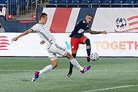 FOXBOROUGH, UNITED STATES - AUGUST 20: Jack Elliott #3 of Philadelphia Union tries to block a cross from Gustavo Bou #7 of New England Revolution during a game between Philadelphia Union and New England Revolution at Gilette on August 20, 2020 in Foxborough, Massachusetts.