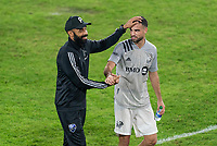 WASHINGTON, DC - NOVEMBER 8: Thierry Henry of the Montreal Impact talks with Rudy Camacho #4 after a game between Montreal Impact and D.C. United at Audi Field on November 8, 2020 in Washington, DC.