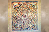 Roman geometric floor mosaic with roses and flowers, from the Pietra Papa area near the Flavian Gate, Rome. 125-150 BC. National Roman Museum, Rome, Italy