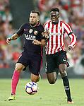 Athletic de Bilbao's Inaki Williams (r) and FC Barcelona's Jordi Alba during La Liga match. August 28,2016. (ALTERPHOTOS/Acero)