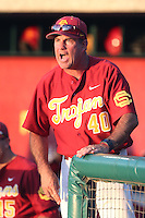 Southern California Trojans Head Coach Dan Hubbs #40 during a game against the UC Irvine Anteaters at Dedeaux Field on April 29, 2014 in Los Angeles, California. Stanford defeated Southern California, 6-2. (Larry Goren/Four Seam Images)