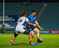 16th November 2020; RDS Arena, Dublin, Leinster, Ireland; Guinness Pro 14 Rugby, Leinster versus Edinburgh; Harry Byrne (Leinster) chips through past Sau of Edinburgh for the opening try