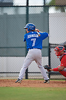 Toronto Blue Jays left fielder Reilly Johnson (7) at bat during an Instructional League game against the Philadelphia Phillies on September 30, 2017 at the Carpenter Complex in Clearwater, Florida.  (Mike Janes/Four Seam Images)