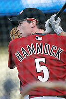 Robby Hammock of the Arizona Diamondbacks during batting practice before a game from the 2007 season at Dodger Stadium in Los Angeles, California. (Larry Goren/Four Seam Images)