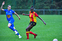 20200819, Sint-Amandsberg , GENT , BELGIUM : Gent's defender Heleen Jaques (4) and Lens's forward Mama Diop (9) pictured during a friendly soccer game between KAA Gent ladies and RC Lens ladies in the preparations for the coming season 2020 - 2021 of Belgian Women's SuperLeague and French second division , Wednesday 19 th of August 2020 in JAGO Sint-Amandsberg / Gent, Belgium . PHOTO SPORTPIX.BE | STIJN AUDOOREN