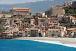 Italy, Calabria, Scilla: beach resort at entrance of Straits of Messina, long secluded beach at off season